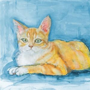 ペット肖像画油絵M&L猫アップ