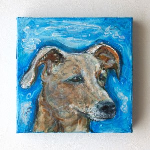 ペット 絵画・肖像画ビビットS犬ブルー
