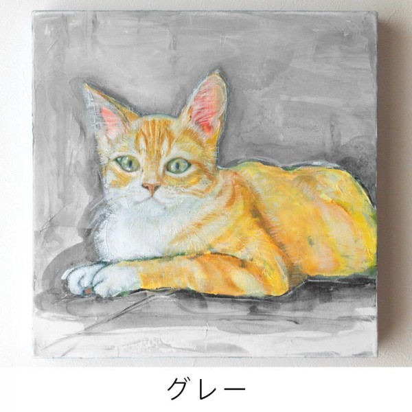 ペット 絵画・肖像画 ナチュラルM グレー