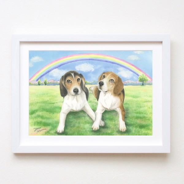 水彩画yumi犬二匹