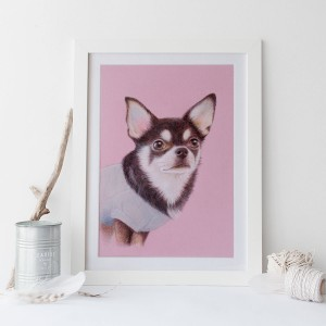 色鉛筆画犬イメージ画像2スクエア