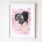 水彩画フラワーkia犬2