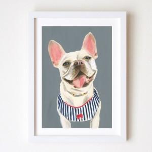 ペット 似顔絵 グレー 犬