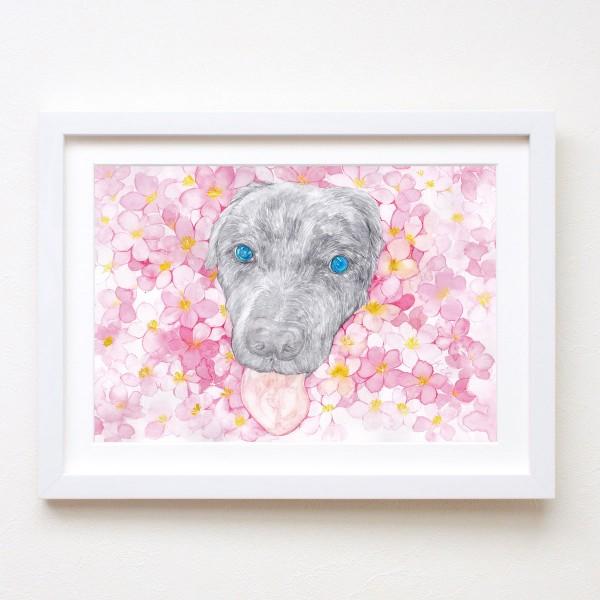 水彩画フラワーkia犬