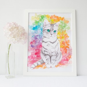 猫肖像画 kiA_マルチカラーイメージ