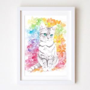 猫肖像画 kiA_マルチカラー